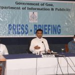 Chief Minister Dr. Pramod Sawant is seen briefing the press during a press conference held today.