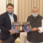 "Governor of Goa, Shri Satya Pal Malik releasing Monthly Business Magazine ""Business Goa"" at Raj Bhavan, Donapaula on July 28, 2020. Adv. Harshvardhan Bhatkuly is also seen."