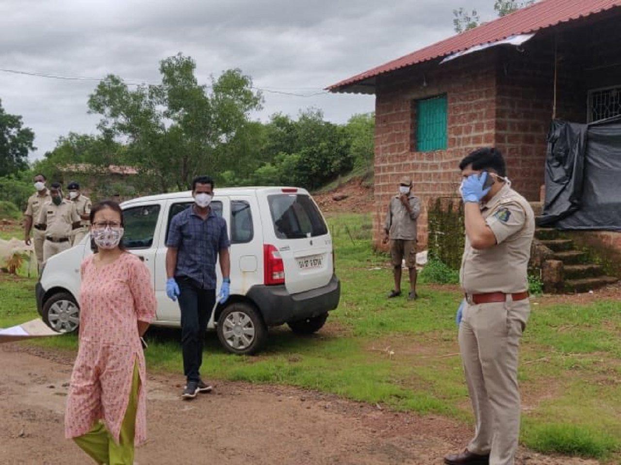 Deputy Collector ,Mamu Hage, IAS, JT. Mamlatdar Sandeep Gawade & PI Tushar Lotlikar Inspected the sealed area of Khargale, Tivim.