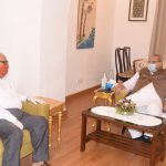 Leader of Opposition, Shri Digamber Kamat interacted with the Governor of Goa, Shri Satya Pal Malik during his Courtesy visit at Raj Bhavan, Donapaula on July 20, 2020.