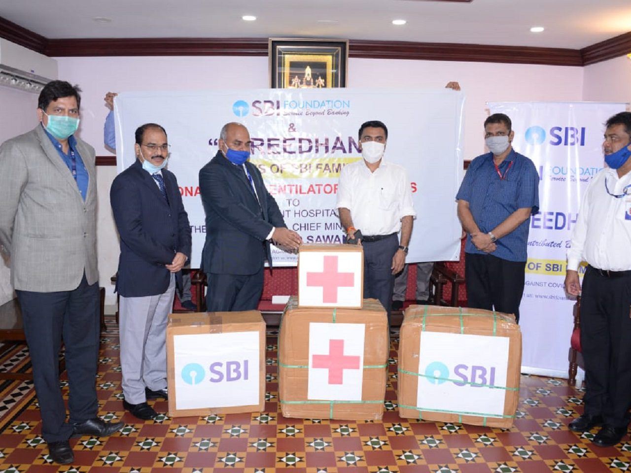 SBI donated one Ventilator and 1000 PPE Kits to the Government Hospitals at Panaji on July 14, 2020.