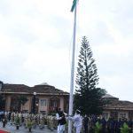 Speaker, Goa Legislative Assembly, Shri Rajesh Patnekar unfurling the national tri-colour at Assembly Complex, Porvorim on the occasion of Independence Day Celebrations on August 15, 2020