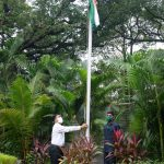 Chief Minister, Dr. Pramod Sawant unfurling the national tri-colour at his official Residence 'Mahalaxmi', Altinho on the occasion of Independence Day Celebrations on August 15, 2020