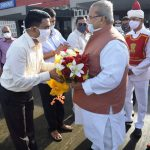 Chief Minister of Goa, Dr. Pramod Sawant seen Greeting the Governor of Goa, Shri Satya Pal Malik on his departure at Naval Enclave ( Airport) Dabolim on August 19, 2020