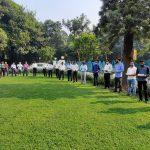 गोंय भवन नवी दिल्लीचे कर्मचारी 'राष्ट्रीय एकता दिवस' सरदार वल्लभभाई पटेल हांच्या जयंती दिसा प्रतिज्ञा घेताना दिसले.