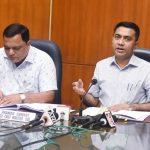 मुख्यमंत्री डॉ. प्रमोद सावंत हांनी १६ डिसेंबर २०२० दिसा पर्वरी हांगा पत्रकार परिषद घेताना