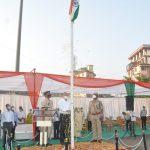 MLA Aldona Shri. Glenn Ticlo is seen unfurling the national flag on the occasion of 72nd Republic Day Mapusa.
