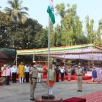 Minister for Art and Culture Shri. Govind Gaude hoisted the tri-colour on the occasion of Republic Day at Kranti. Maidan in Ponda