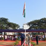 Minister for Transport Shri Mauvin Godinho is seen unfurling the National Flag on the occasion of Republic Day at Bhute Bhat, Vasco