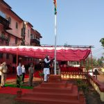 Dy Chief Minister Shri. Manohar Azgaonkar is seen hoisting the National Flag at Pernem on the occasion of Republic Day