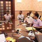 Chief Minister, Dr. Pramod Sawant Interacting During The Presentation Regarding Implementation Of 'Atmanirbhar Bharat Swayampurna Goem' In Municipality Areas At Altinho Panaji On February 12, 2021.