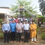 Chief Minister, Dr. Pramod Sawant Garlanding The Statue Of Goa's First Chief Minister, Late Dayanand B. Bandodkar On The Occasion Of The Latter's Birth Anniversary Observed At Porvorim near New Secretariat on March 12, 2021.