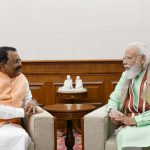 """Governor of Goa, Shri P.S Sreedharan Pillai called on Prime Minister of India, Shri Narendra Modi, after assuming charge of the office of Governor of Goa. Shri Pillai also presented his latest book """"Straight Line"""" to the Prime Minister."""