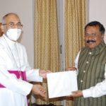 Archbishop of Goa, Filipe Neri Ferrao called on the Governor of Goa Shri P.S. Sreedharan Pillai